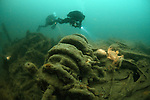 "Divers exploring the 19th century steamship ""Duke of Buccleuch"" which lies in 58 metres of water in the English Channel"