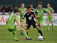DC United forward Josh Wolff (16) goes against Seattle Sounders defender Patrick Ianni (4)    DC United defeated The Seattle Sounders 2-1 at  RFK Stadium, Wednesday May 4, 2011.