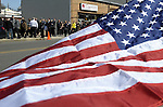 (Medford Ma 042113) Mourners line up outside Delle Russo Funeral Home in Medford for the wake for Boston Marathon victim Krystle Campbell, Sunday in Medford.   (Jim Michaud Photo)