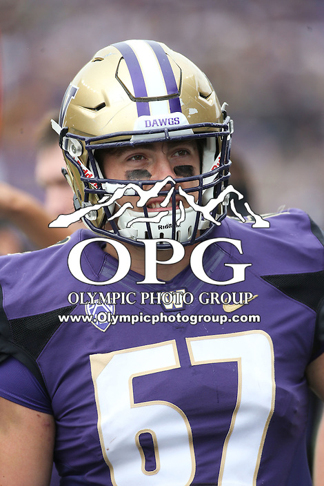 03 September 2016: Washington's Michael Kneip against Rutgers.  Washington defeated Rutgers 48-13 at the University of Washington in Seattle, WA.