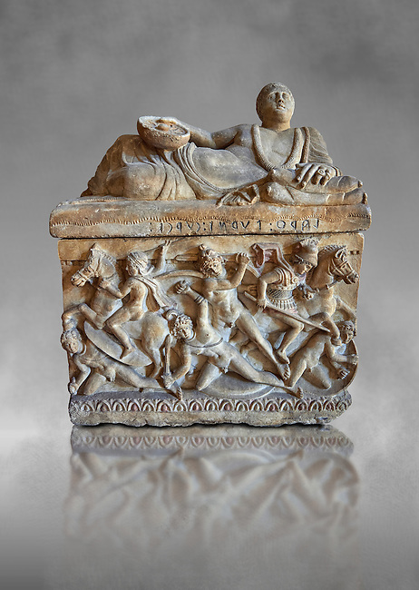 Etruscan Hellenistic style cinerary, funreary, urn ,  National Archaeological Museum Florence, Italy , grey art background