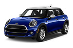 2019 MINI Hardtop-4-Door Cooper-Signature 5 Door Hatchback Angular Front stock photos of front three quarter view
