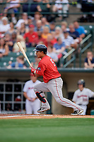 Pawtucket Red Sox Tzu-Wei Lin (5) at bat during an International League game against the Rochester Red Wings on June 28, 2019 at Frontier Field in Rochester, New York.  Pawtucket defeated Rochester 8-5.  (Mike Janes/Four Seam Images)