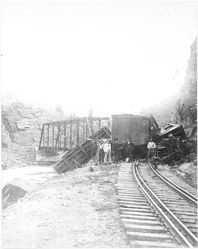 Freight wreck at Sapinero Bridge in early 1900's.<br /> D&amp;RG  Sapinero Bridge, CO  ca 1900-1910