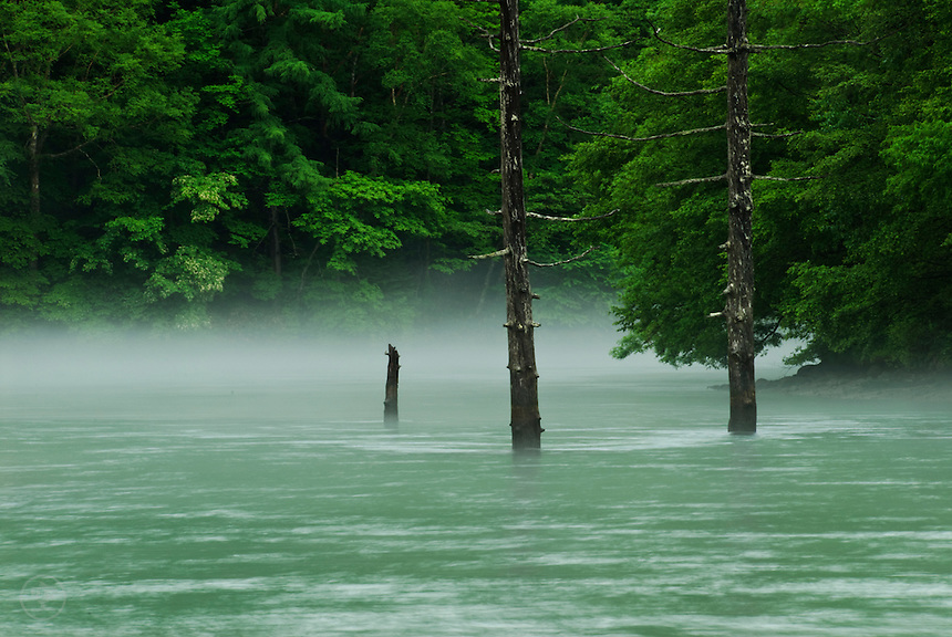 Green on green. Between mountains, hidden by cloud, mist rises from the from the blue-green waters of Taisho-ike during the rainy season, Kamikochi, Japan.<br />