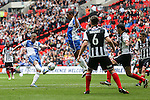 Lee Mansell of Bristol Rovers (left) shoots during the 2015 Vanarama Conference Promotion Final match between Grimsby Town and Bristol Rovers at Wembley Stadium, London<br /> Picture by David Horn/eXtreme aperture photography +44 7545 970036<br /> 17/05/2015