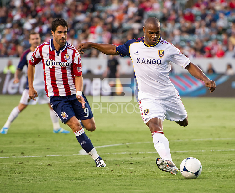 CARSON, CA - June 16, 2012: Real Salt Lake defender Jamison Olave (4) during the Chivas USA vs Real Salt Lake match at the Home Depot Center in Carson, California. Final score Real Salt Lake 3, Chivas USA 0.