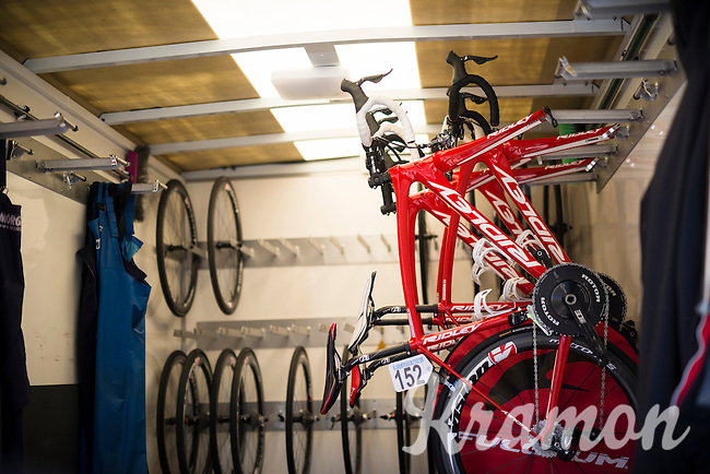 bikes are stowed away in the team truck after racing<br /> <br /> Vlaamse Druivenkoers 2016