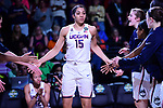 DALLAS, TX - MARCH 31:  Gabby Williams #15 of the Connecticut Huskies get introduced during the 2017 Women's Final Four at American Airlines Center on March 31, 2017 in Dallas, Texas. (Photo by Justin Tafoya/NCAA Photos via Getty Images)