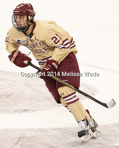 The visiting University of Minnesota Golden Gophers defeated the Boston College Eagles 6-2 (EN) on Friday, November 28, 2014, at Kelley Rink in Conte Forum in Chestnut Hill, Massachusetts.