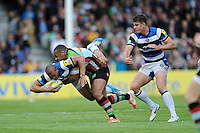 Jordan Turner-Hall of Harlequins smashes into Jonathan Joseph of Bath Rugby during the Aviva Premiership match between Harlequins and Bath Rugby at The Twickenham Stoop on Saturday 10th May 2014 (Photo by Rob Munro)