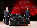 "October 12, 2017, Tokyo, Japan - Italian sports car maker Ferrari Far and Middle East CEO Dieter Knechtel (L) and Ferrari Japan managing director Reno de Paoli dislpay ""LaFerrari Aperta"" to celebrate Ferrari's 70th anniversary event at Tokyo's Kokugikan sumo gymnasium on Thursday, Octoebr 12, 2017. Ferrari also displayed 40 sports cars outside of the Kokugikan.   (Photo by Yoshio Tsunoda/AFLO) LWX -ytd"