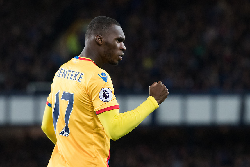 Crystal Palace's Christian Benteke celebrates <br /> Photographer Terry Donnelly/CameraSport<br /> <br /> The Premier League - Everton v Crystal Palace - Friday 30th September 2016 - Goodison Park - Liverpool<br /> <br /> World Copyright &copy; 2016 CameraSport. All rights reserved. 43 Linden Ave. Countesthorpe. Leicester. England. LE8 5PG - Tel: +44 (0) 116 277 4147 - admin@camerasport.com - www.camerasport.com