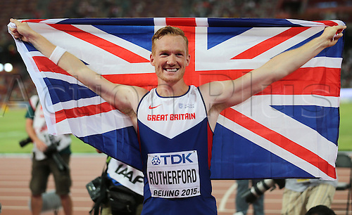 25.08.2015. Beijing, China.  Greg Rutherford of Great Britain celebrates after winning the men's Long Jump final of the Beijing 2015 IAAF World Championships at the National Stadium, also known as Bird's Nest, in Beijing, China, 25 August 2015.