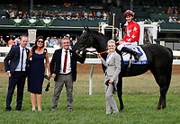 """LEXINGTON, KY - October 7, 2017. #3 Suedois (FR) and jockey Daniel Tudhope after winning the 32nd Shadwell Turf Mile, Grade 1, $1,000,000 """"Win and You're In Breeders' Cup Turf Mile"""" for owner George Turner and Clipper Logistics (Steve Parkin) and trainer David O'Meara at Keeneland Race Course.  Lexington, Kentucky. (Photo by Candice Chavez/Eclipse Sportswire/Getty Images)"""