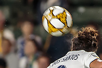 CARSON, CA - SEPTEMBER 15: Jonathan dos Santos #8 of the Los Angeles Galaxy heads a ball during a game between Sporting Kansas City and Los Angeles Galaxy at Dignity Health Sports Complex on September 15, 2019 in Carson, California.