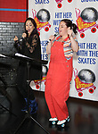 """Diana DeGarmo and Amy Toporek during the Special Musical Presentation for """"Hit Her WithThe Skates"""" at the Bowlmor Times Square on October 16, 2018 in New York City."""