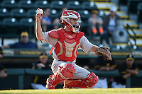 Palm Beach Cardinals catcher Casey Rasmus (5) during a game against the Bradenton Marauders on April 9, 2014 at McKechnie Field in Bradenton, Florida.  Palm Beach defeated Bradenton 3-1.  (Mike Janes/Four Seam Images)