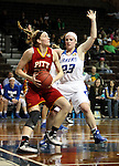 SIOUX FALLS MARCH 22:  Kylie Gifford #23 from Pittsburg State eyes the basket past the defense of Kayla Dawson #23 from Grand Valley State during their quarterfinal game at the NCAA Women's Division II Elite 8 Tournament at the Sanford Pentagon in Sioux Falls, S.D. (Photo by Dave Eggen/Inertia)