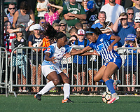 Boston, MA - Saturday August 19, 2017: Jamia Fields, Margaret Purce during a regular season National Women's Soccer League (NWSL) match between the Boston Breakers (blue) and the Orlando Pride (white/light blue) at Jordan Field. Orlando Pride defeated Boston Breakers, 2-1.