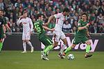 15.04.2018, Weser Stadion, Bremen, GER, 1.FBL, Werder Bremen vs RB Leibzig, im Bild<br /> <br /> Zlatko Junuzovic (Werder Bremen #16)<br /> Bernardo (RB Leipzig #03)<br /> Thomas Delaney (Werder Bremen #6)<br /> <br /> Foto &copy; nordphoto / Kokenge