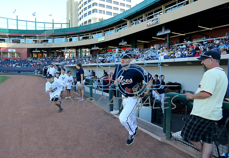Reno Aces' Nick Buss takes the field for a game against the Las Vegas 51s in Reno, Nev., on Sunday, July 26, 2015.<br /> Photo by Cathleen Allison