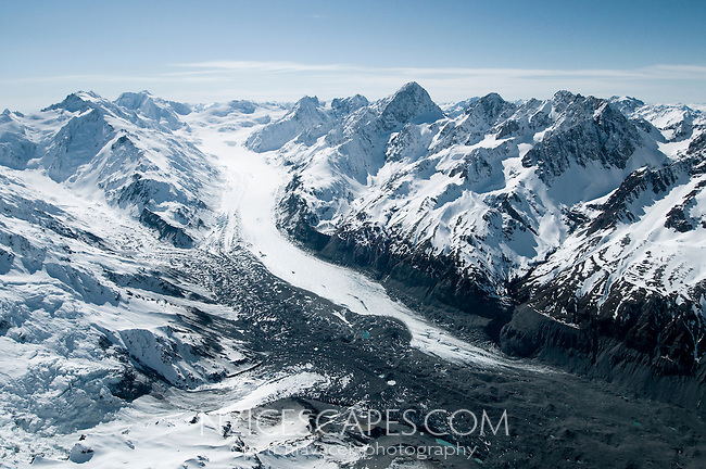 Tasman Glacier with its 29km is the longest glacier in New Zealand - Mt. Cook National Park