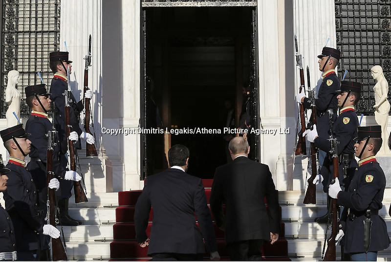 Pictured L-R: Vladimir Putin and Alexis Tsipras walk the steps of Maximos Mansion Friday 27 May 2016<br /> Re: Russian President Vladimir Putin meets with Greek Prime Minister Alexis Tsipras at Maximou Mansion, Athens, Greece