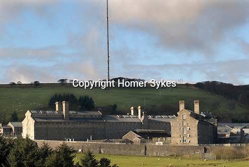 Dartmoor Prison Princetown Devon Uk. Showing huge satalite  ariel on hillside behind.