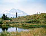 USA, Alaska, hikers in Denali National Park with mount McKinley in background, Camp Denali