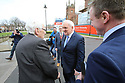 Former Irish Prime Minister Bertie Ahern shakes hands with former SDLP Deputy Leader Dr Seamus Mallon at Queen's University Belfast, Tuesday, April 10th, 2018. Tuesday marks 20 years since politicians from Northern Ireland and the British and Irish governments agreed what became known as the Good Friday Agreement. It was the culmination of a peace process which sought to end 30 years of the Troubles. Two decades on, the Northern Ireland Assembly is suspended in a bitter atmosphere between the two main parties. Photo/Paul McErlane
