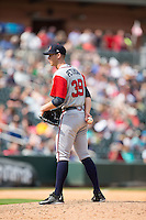 Gwinnett Braves relief pitcher David Peterson (39) looks to his catcher for the sign against the Charlotte Knights at BB&T BallPark on May 22, 2016 in Charlotte, North Carolina.  The Knights defeated the Braves 9-8 in 11 innings.  (Brian Westerholt/Four Seam Images)