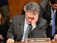 United States Senator Al Franken (Democrat of Minnesota) looks over his notes prior to the US Senate Committee on Health, Education, Labor and Pensions hearing  considering the confirmation of Betsy DeVos of Grand Rapids, Michigan to be US Secretary of Education on Capitol Hill in Washington, DC on Tuesday, January 17, 2017. Photo Credit: Ron Sachs/CNP/AdMedia