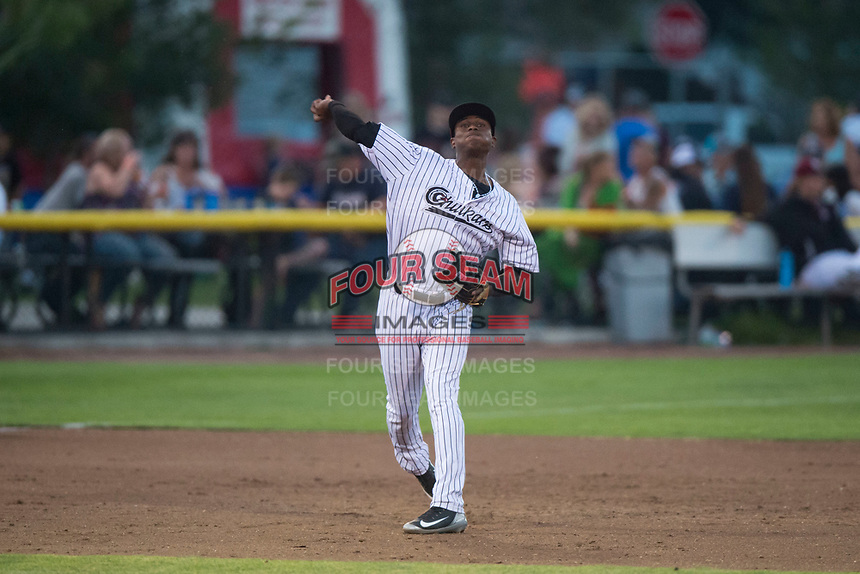 Idaho Falls Chukars third baseman Angel Medina (46) throws to first base during a Pioneer League game against the Great Falls Voyagers at Melaleuca Field on August 18, 2018 in Idaho Falls, Idaho. The Idaho Falls Chukars defeated the Great Falls Voyagers by a score of 6-5. (Zachary Lucy/Four Seam Images)