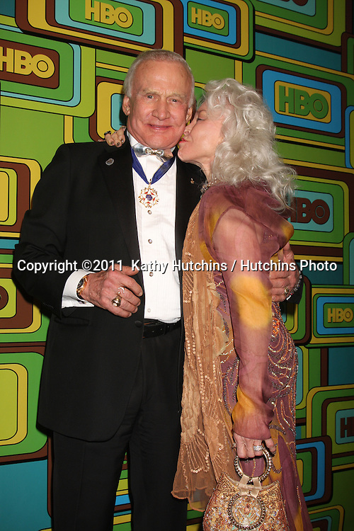 LOS ANGELES - JAN 16:  Buzz Aldrin; Lois Aldrin arrives at the HBO Golden Globe Party 2011 at Circa 55 at the Beverly Hilton Hotel on January 16, 2011 in Beverly Hills, CA