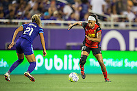 Orlando, Florida - Sunday, May 14, 2016: Western New York Flash forward Jessica McDonald (14) attacks out wide during a National Women's Soccer League match between Orlando Pride and New York Flash at Camping World Stadium.