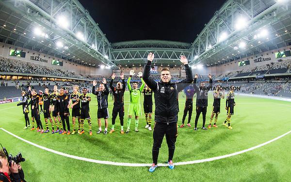 Stockholm 2014-04-16 Fotboll Allsvenskan Djurg&aring;rdens IF - AIK :  <br /> AIK:s Eero Markkanen med lagkamrater jublar med AIK supportrar efter matchen och segern &ouml;ver Djurg&aring;rden<br /> (Foto: Kenta J&ouml;nsson) Nyckelord:  Djurg&aring;rden DIF Tele2 Arena AIK jubel gl&auml;dje lycka glad happy