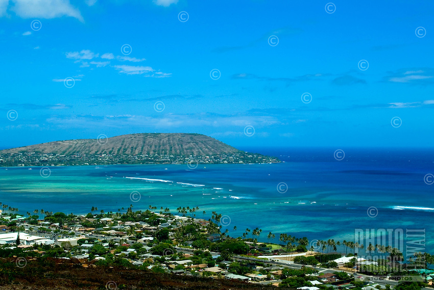Beautiful blue sky day along black point area and Kalanianiole highway, with Koko head crater in the distance, east Oahu