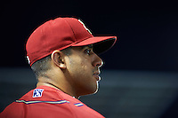 Harrisburg Senators Reegie Corona (6) in the dugout during a game against the New Hampshire Fisher Cats on July 21, 2015 at Metro Bank Park in Harrisburg, Pennsylvania.  New Hampshire defeated Harrisburg 7-1.  (Mike Janes/Four Seam Images)