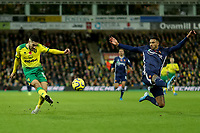 8th November 2019; Carrow Road, Norwich, Norfolk, England, English Premier League Football, Norwich versus Watford; Etienne Capoue of Watford attempts to block Emi Buendia of Norwich City cross - Strictly Editorial Use Only. No use with unauthorized audio, video, data, fixture lists, club/league logos or 'live' services. Online in-match use limited to 120 images, no video emulation. No use in betting, games or single club/league/player publications