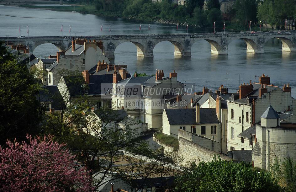 Europe/France/Pays de la Loire/Maine-et-Loire/Saumur : La Loire et les toits des vieilles demeures