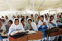 Students of all female Gundi Pira Secondary School in earthquake area of Pattika, Pakistan