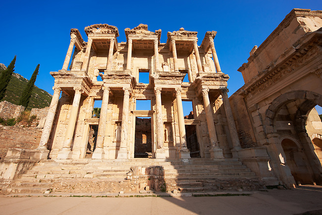 Picture of The library of Celsus. Images of the Roman ruins of Ephasus, Turkey. Stock Picture & Photo art prints 6