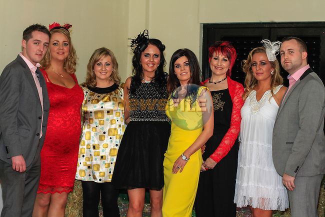 Ciaran Doyle, Fiona Corrigan, Kelly Swanson, Antonia Shelley, Marie Walsh, Lorraine Swanson, Connie Mitchell and Declan Browning during the Race night for Drogheda Hospice organised by the Louth Cancer Fundraising Group in the Boyne Valley Hotel on Saturday 22nd February 2014.<br /> Picture:  Thos Caffrey / www.newsfile.ie
