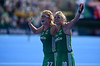 Ireland's Chloe Watkins and Zoe Wilson emotional after their team getting into the final <br /> Photographer Hannah Fountain/CameraSport<br /> <br /> Vitality Hockey Women's World Cup - Ireland v Spain - Saturday 4th August 2018 - Lee Valley Hockey and Tennis Centre - Stratford<br /> <br /> World Copyright &copy; 2018 CameraSport. All rights reserved. 43 Linden Ave. Countesthorpe. Leicester. England. LE8 5PG - Tel: +44 (0) 116 277 4147 - admin@camerasport.com - www.camerasport.com