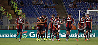 Calcio, Serie A: Lazio vs Bologna. Roma, stadio Olimpico, 22 agosto 2015.<br /> Bologna&rsquo;s Matteo Mancosu, second from left, celebrates with teammates after scoring during the Italian Serie A football match between Lazio and Bologna at Rome's Olympic stadium, 22 August 2015.<br /> UPDATE IMAGES PRESS/Isabella Bonotto