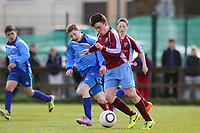 Aaron Connolly (At age 14) of Mervue United U14 in action against North End United.<br /> <br /> Mervue United v North End United, U14 SFAI Goodson Cup Semi Final, 12/4/14, Fahy's Field, Mervue, Galway.