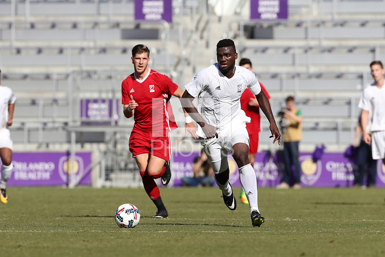Orlando, Florida - Wednesday January 17, 2018: Frandtzy Pierrot. Match Day 3 of the 2018 adidas MLS Player Combine was held Orlando City Stadium.