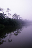 A-Ukre village, Brazil. Misty dawn on a tropical river; Xingu River, Para State.
