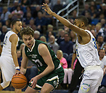 Colorado State's Logan Ryan drives on Nevada's Josh Hall in the first half of an NCAA college basketball game in Reno, Nev., Sunday, Feb. 25, 2018. (AP Photo/Tom R. Smedes)